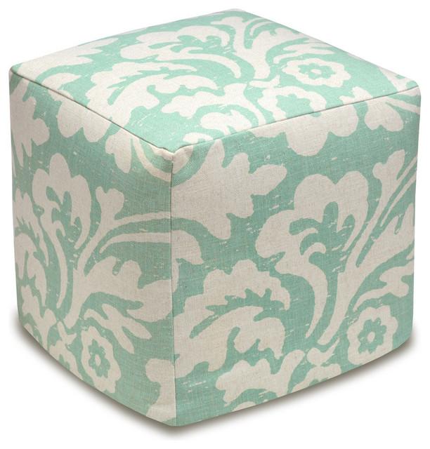 Jacobean Floral Linen Upholstered Ottoman Aqua