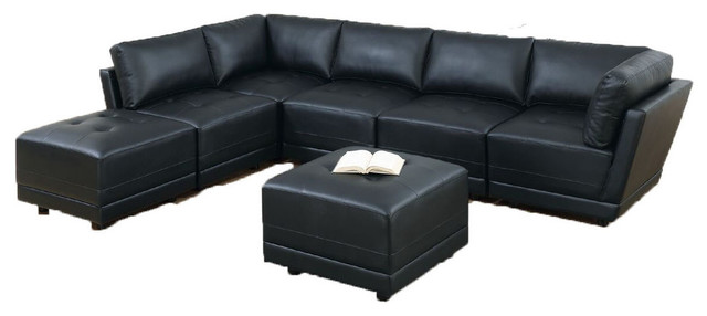 Outstanding Bergen 7 Piece Modular Sofa Set Upholstered Black Bonded Leather Bralicious Painted Fabric Chair Ideas Braliciousco