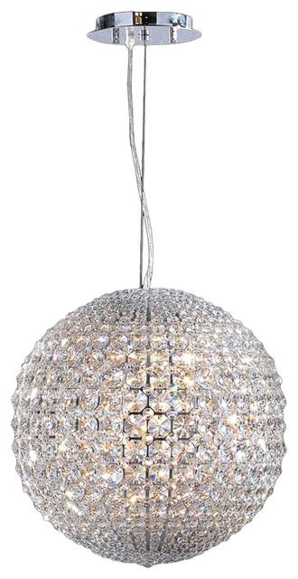 round pendant lighting. Pluto 8 LED Light Chrome Finish Crystal Ball 15 Round Pendant Lighting