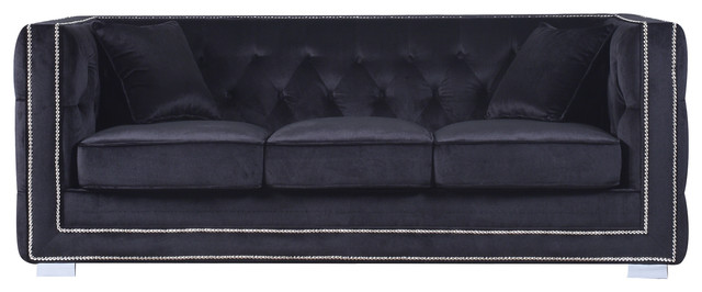 Tufted velvet sofa new modern tufted settee bedroom bench for Ava nailhead chaise