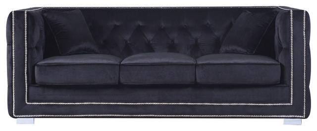 Modern Tufted Velvet Sofa With Nailhead Trim, Black Contemporary Sofas