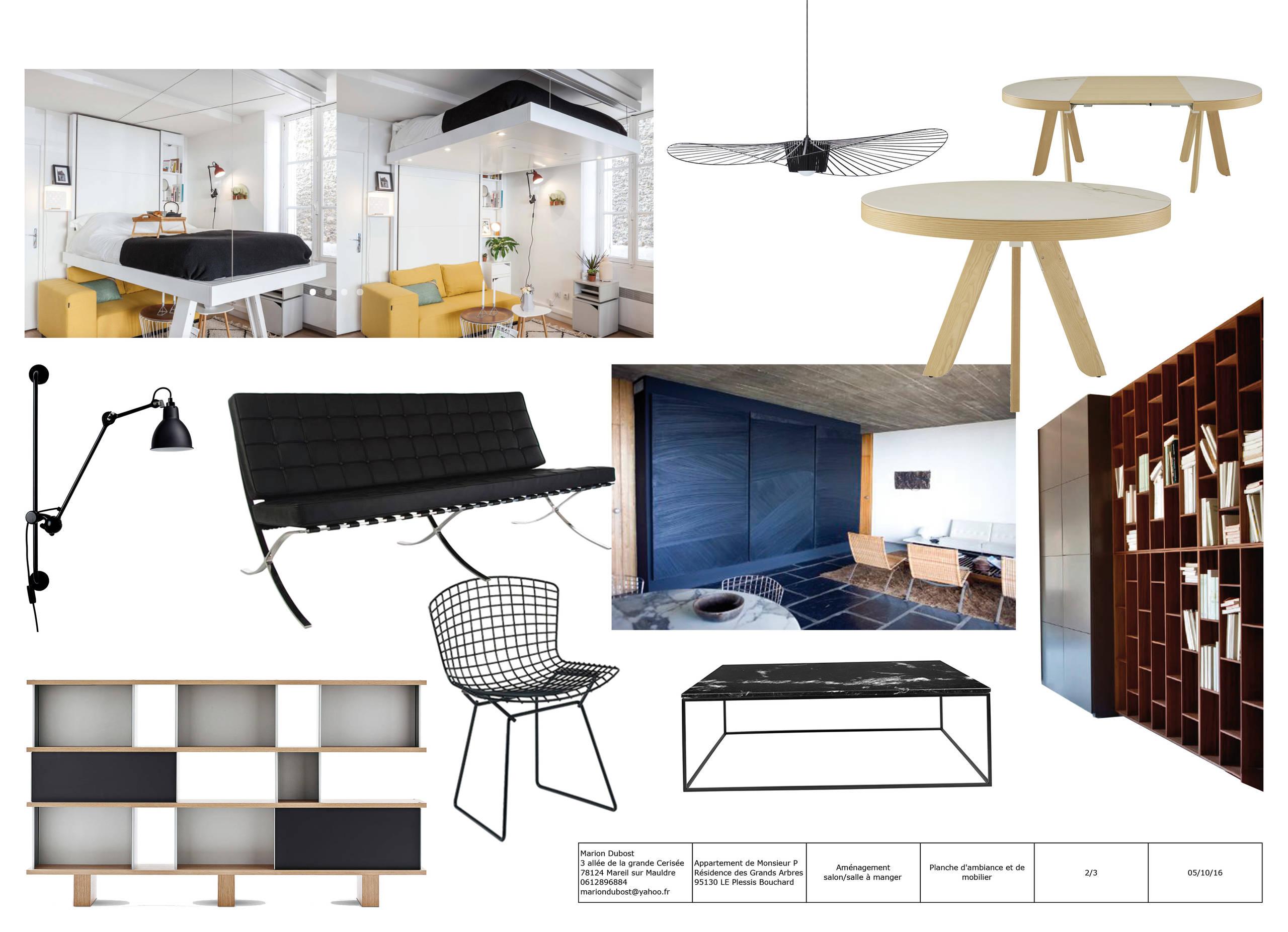 Planche mobilier pour un appartement