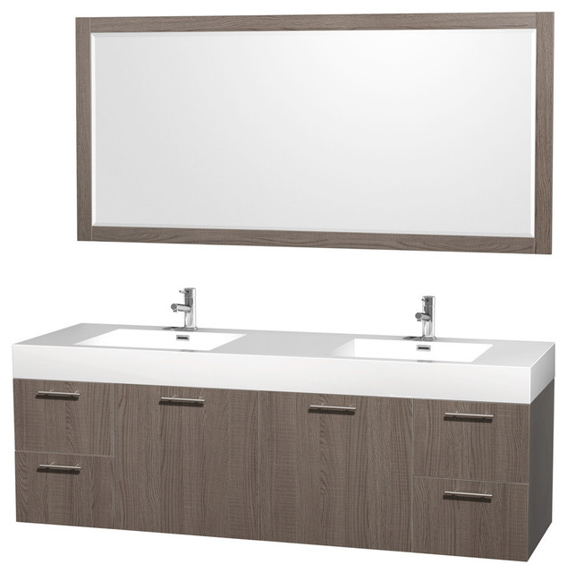 "72"" Double Bathroom Vanity In Grey Oak With Acrylic-Resin Top, Mirror."
