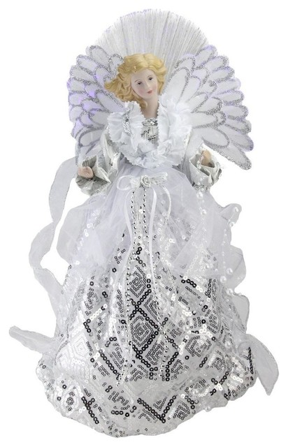 16 Battery Operated Angel White And Silver Sequined Gown Christmas