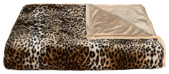 """50""""x70"""" Faux Fur Throw, Leopard."""