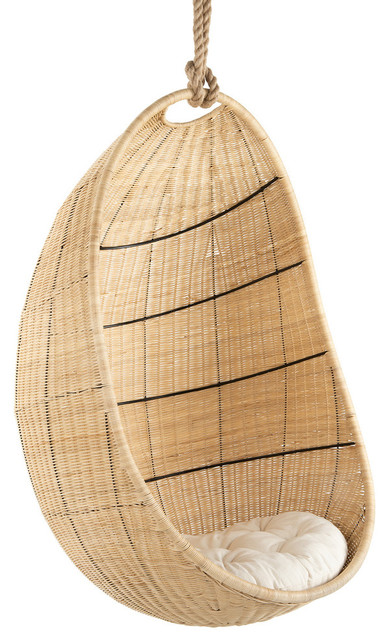 Cocoon Wicker Hanging Swing Chair With Seat Cushion, Natural by KOUBOO
