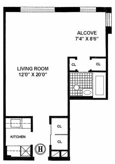 L Shaped Studio Apartment