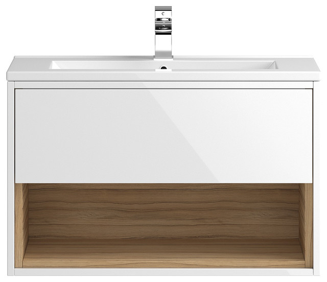 Wall-Mounted Bathroom Vanity Unit and Sink, Gloss White and Cocobolo, 81 cm