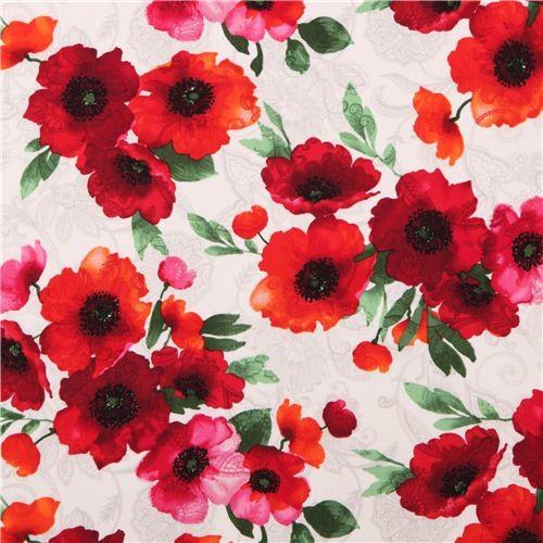 cream poppy flower Timeless Treasures fabric 'Ava Poppies' Tribeca