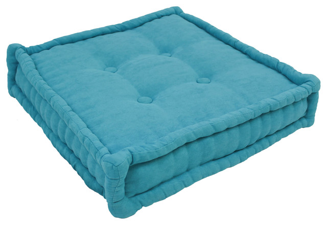 """20"""" Square Corded Floor Pillow with Button Tufts, Aqua Blue"""