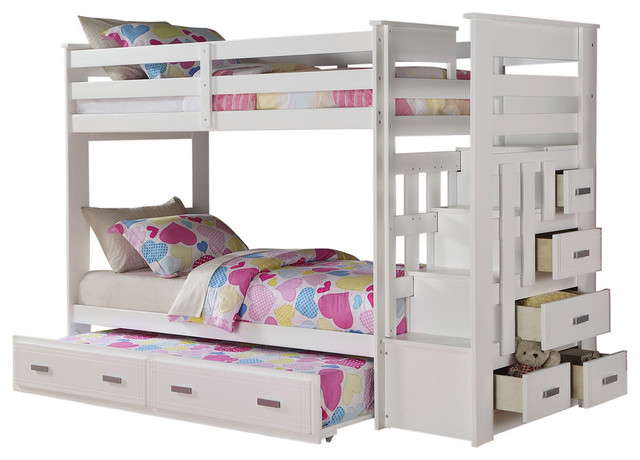 Allentown Twin Over Twin Bunk Bed With Storage Ladder And Trundle White Transitional Bunk Beds By Kolibri Decor