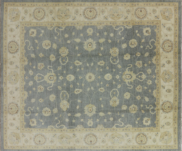New Silver Washed Blue Chobi Peshawar 8x10 Hand Knotted Pakistani Wool Rug  H3800 Traditional Area