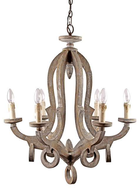 Antique style wooden pendant with candle lights for Wood pendant chandelier