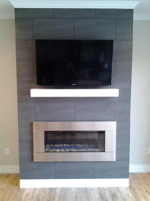 Floor to Ceiling Custom Ceramic Tile with off White Painted Birch Mantel
