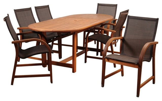 Amazonia Bahamas 7-Piece Eucalyptus Extendable Dining Set With Brown Sling Chair