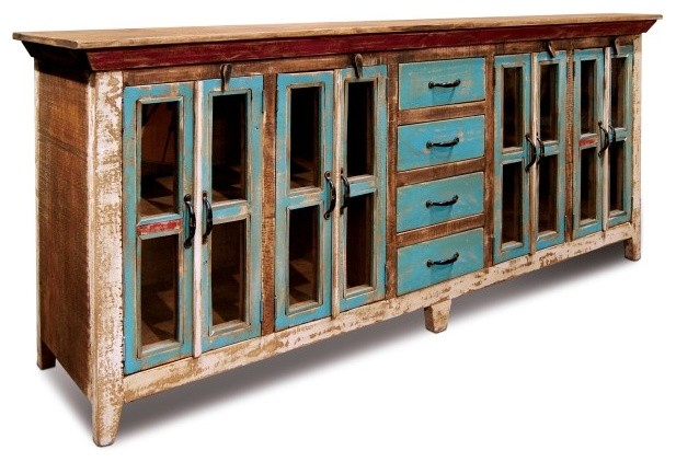 Rustic Distressed Reclaimed Solid Wood Sideboard, Curio Cabinet. Glass-Doors.