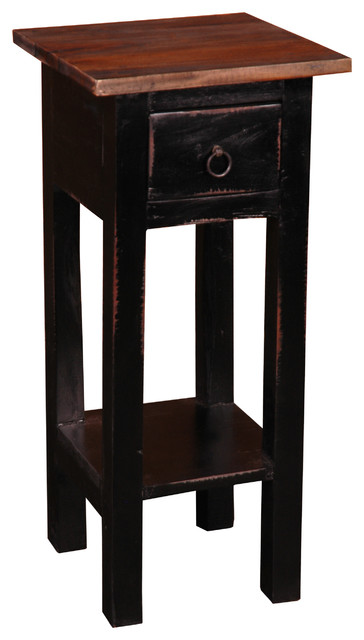 Cottage Narrow Side Table Light Distressed Antique Black