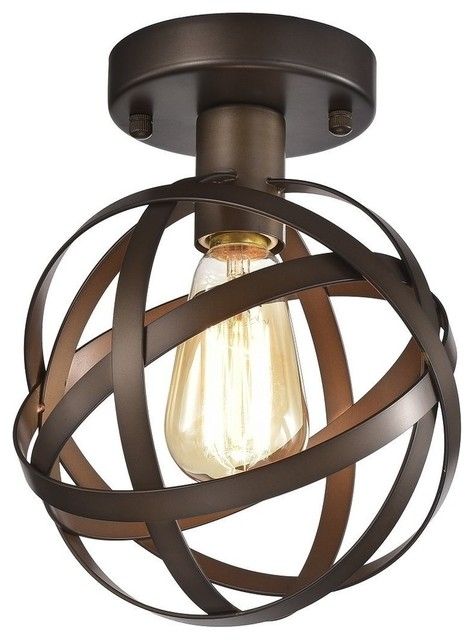 Mini Flush Mount Chandelier Lighting Bronze Orb Ceiling Light Fixture 1 Light.