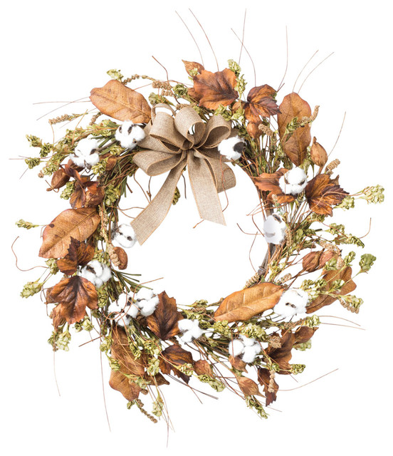 Cotton And Hops Artificial Wreath.