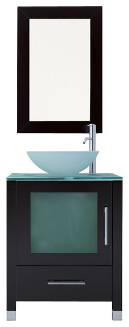 "Single Vessel Sink Bathroom Vanity With Glass Top, 23.75""."
