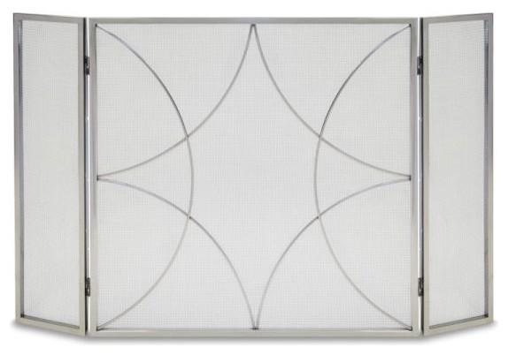3 Panel Forged Diamond Screen, Polished Nickel.