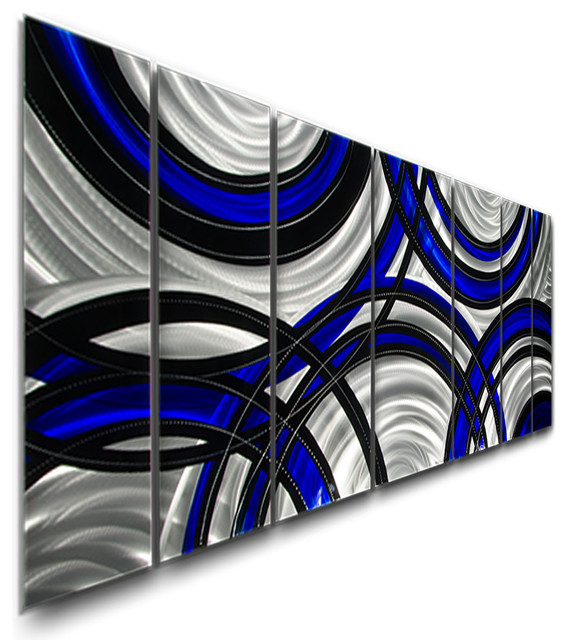 "Crossroads Blue Metal Wall Art Painting By Jon Allen, 68""x24"". -1"