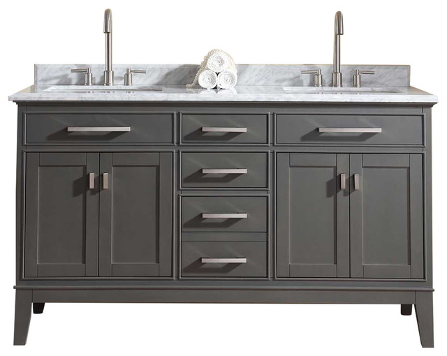 "Danny Double Vanity Set, 60"" - Transitional - Bathroom Vanities And Sink Consoles - by Ari ..."