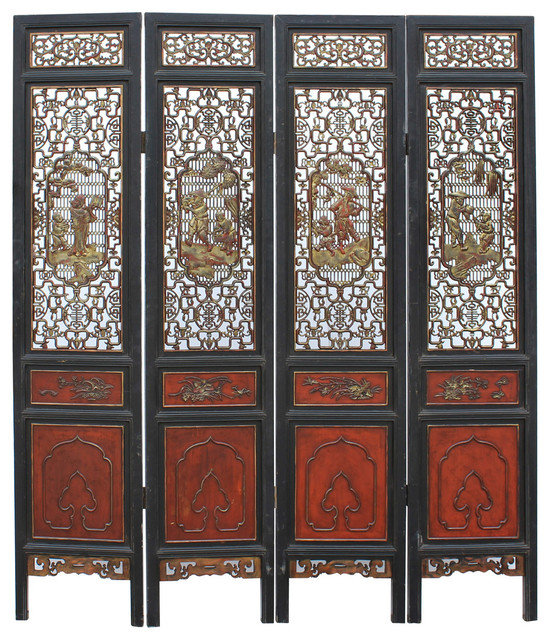 Charming Consigned, Chinese People Carving Red Black Golden Wood Panel Floor Screen  Asian Screens