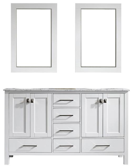 """Gela Double Vanity With Mirror, White, 60"""""""