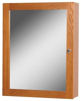 "19"" Worthington Mirrored Medicine Cabinet, Oak."