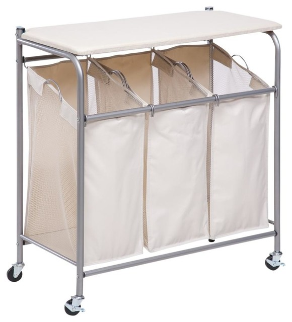 Janet Laundry Center, Natural And Silver Contemporary Hampers
