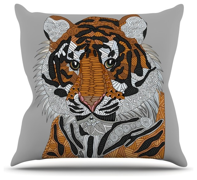 Art Love Passion Tiger Gray Orange Throw Pillow Contemporary Impressive Gray And Orange Decorative Pillows