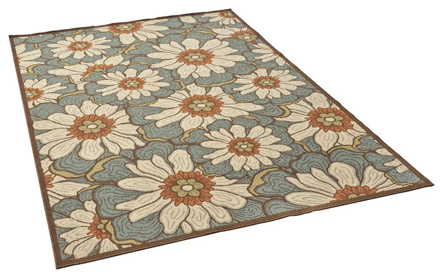 Orval Outdoor Floral 8&x27;x11&x27; Area Rug, Blue With Multicolor.