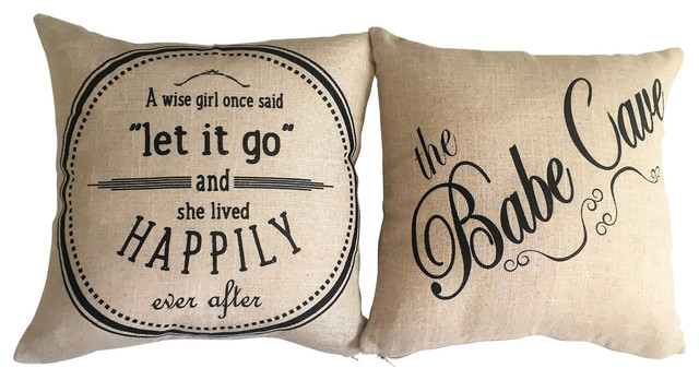 Babe Cave/let It Go Motivational Doublesided Pillow For Teens Girls Women.