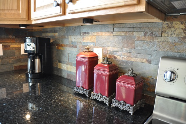 Uba Tuba Granite Countertop And Slate Tile Backsplash Idea Eclectic