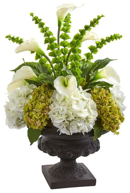 3 Hydrangea Mixed Floral Artificial Arrangement In Urn Traditional Artificial Flower Arrangements By Nearly Natural Inc
