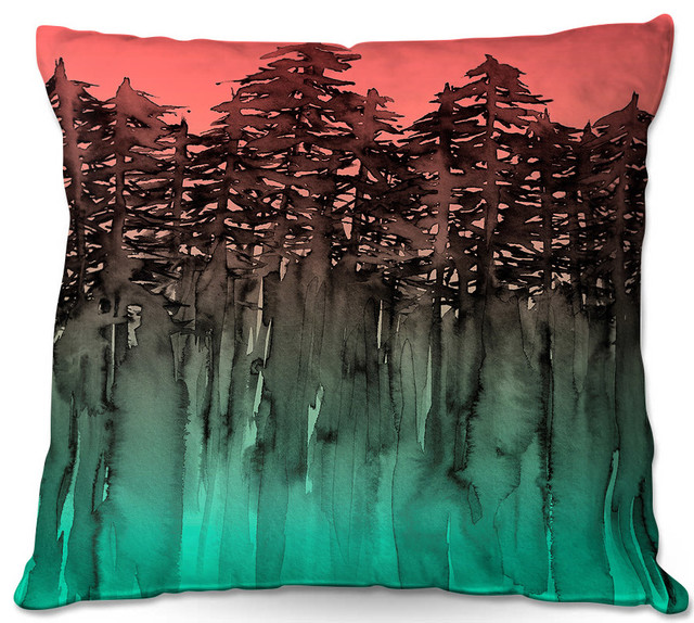 Dianoche Outdoor Pillows By Julia Di Sano Forest Trees Pink Green