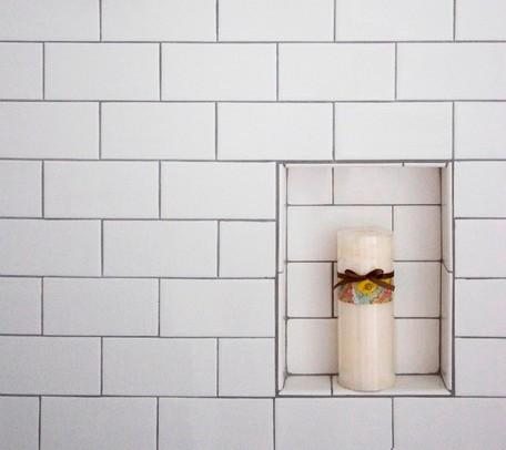 Subway tile shower niche 3 8