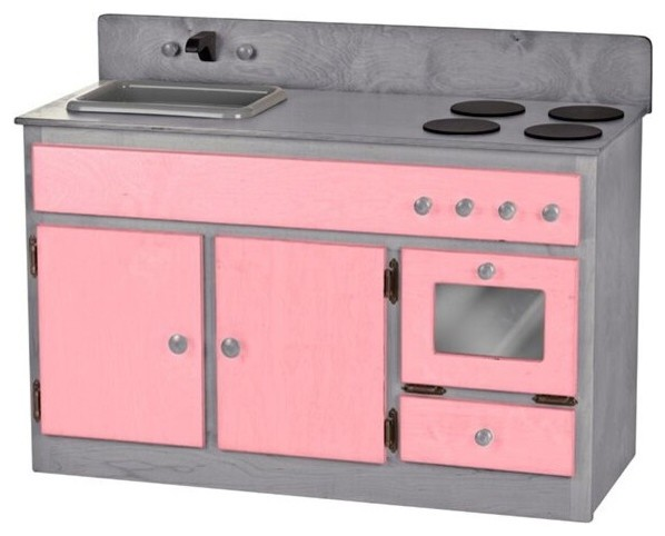 Playroom Wood Toy Kitchen Set Sink Stove Oven Handmade USA, Pink/Gray