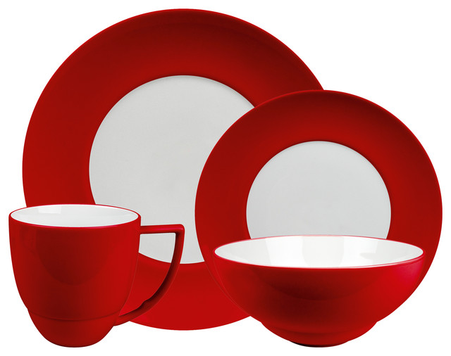 Uno 16 Piece Place Setting Set Chili Modern Dinnerware Sets