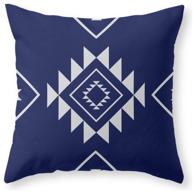 Southwestern Print Throw Pillows : Society6 Navy Aztec, Throw Pillow - Southwestern - Decorative Pillows - by Society6