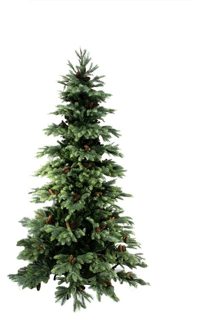 7 new england pine medium artificial christmas tree with cones - Rustic Artificial Christmas Tree