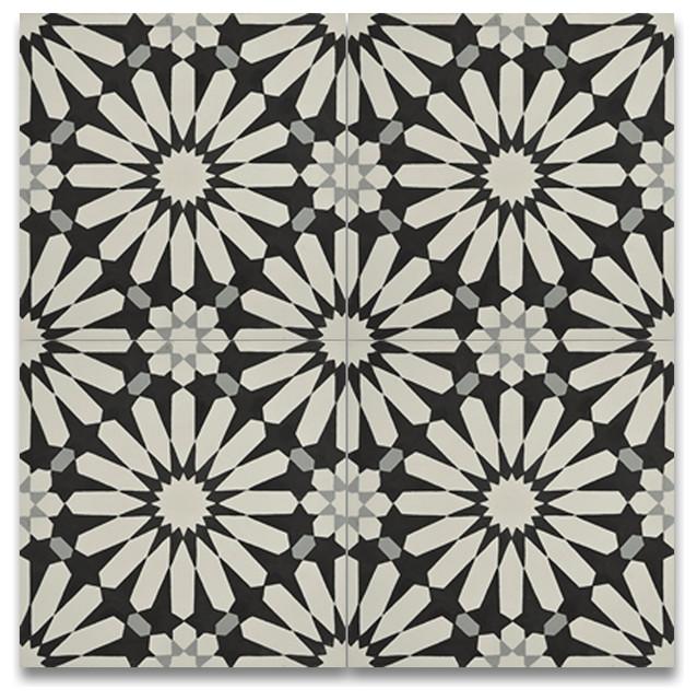 Alhambra Handmade Cement Tile Black And White Set Of 12