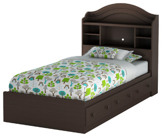 South Shore Summer Breeze Twin Mates Bed With Drawers and Bookcase Headboard Set