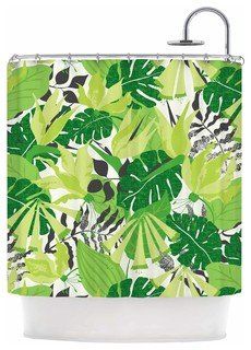 "KESS InHouse Jacqueline Milton ""Tropicana - Green"" Lime White Shower Curtain"