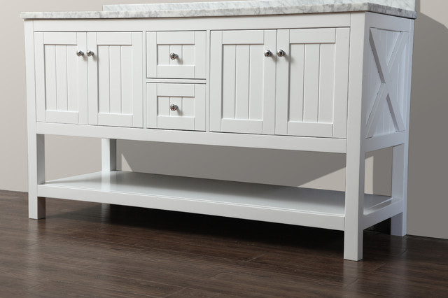 "Emily 60"" Bathroom Vanity Cottage Style - White - Beach Style - Bathroom Vanities And Sink ..."