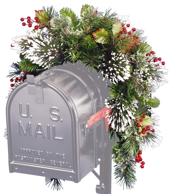 3' Wintry Pine Collection Mailbox Swag With Red Berries, Cones and Snowflakes