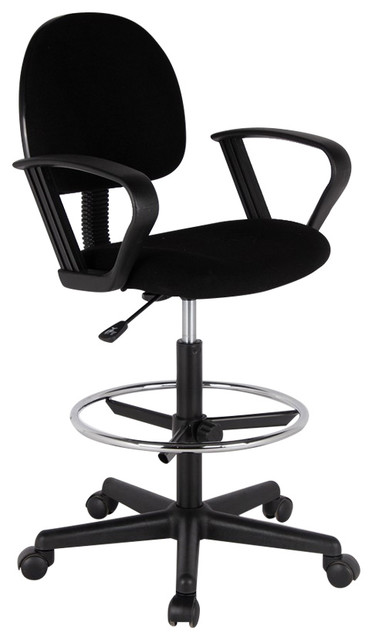Lounge Drafting Adjustable Stool With Foot Ring And Loop Arms Black Modern