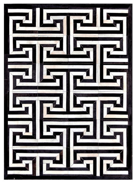 Madisons Maze Pattern Black And White Cowhide Area Rug