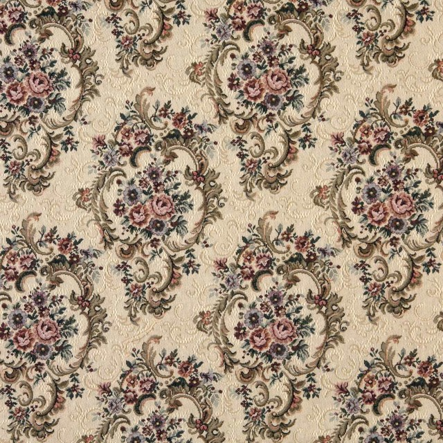 Green Burgundy And Beige Floral Tapestry Upholstery Fabric By The